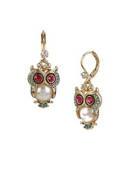 Betsey Johnson Faux Pearl Owl Drop Earrings Gold