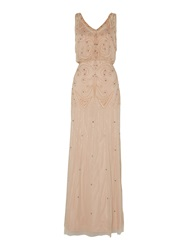 Adrianna Papell Sleeveless Gown With Deep V Neckline Taupe