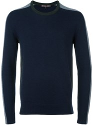 Michael Kors Striped Sleeve Jumper Blue