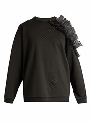 Christopher Kane Open Ruffled Shoulder Cotton Sweatshirt Black