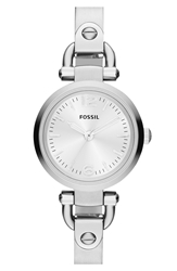 Fossil 'Small Georgia' Round Dial Bangle Watch 26Mm Silver