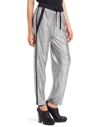 Kenneth Cole Brody Metallic Drawstring Pants Silver