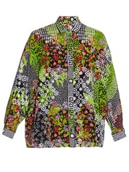 Versace Floral Print Silk Blouse Green Multi