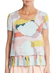 1.State Printed And Pleated Blouse Sea Glass