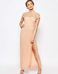 Elise Ryan Scalloped Lace Maxi Dress With V Back Nude