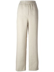 Msgm Side Stripe Palazzo Pants Nude And Neutrals