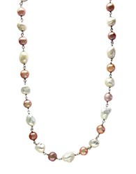 Effy Sterling Silver Multi Colored 8 10 Mm Pearl Necklace White