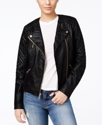 Guess Geonna Quilted Faux Leather Moto Jacket Jet Black