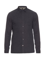 Vince Melrose Double Weave Cotton Shirt Dark Blue
