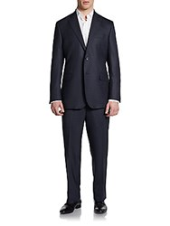 Saks Fifth Avenue Black Classic Fit Wool And Silk Windowpane Two Button Suit Navy