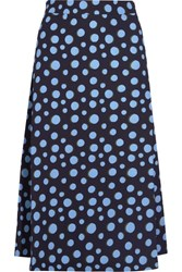 House Of Holland Spotlight Polka Dot Crepe Midi Skirt Blue