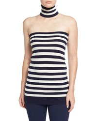Michael Kors Striped Tube Top With Choker Navy White