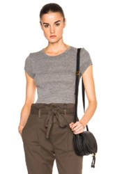 Enza Costa Rib Fitted Tee In Gray
