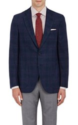 Isaia Men's Sanita Plaid Wool Cashmere Two Button Sportcoat Navy
