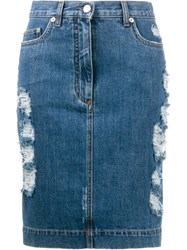Moschino Distressed Denim Skirt