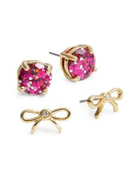 Kate Spade Two Piece Bow Stud Earring Set Pink