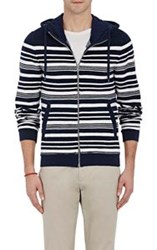 Orlebar Brown Men's Striped Zip Front Hoodie Blue