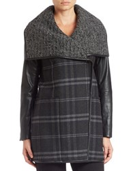 Vera Wang Faux Leather Sleeve Plaid Coat Navy Combo