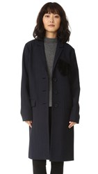 Marissa Webb Jacob Pinstripe Heart Overcoat Blue Ink