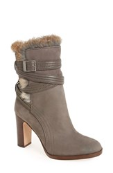 Louise Et Cie Women's Genuine Rabbit Fur Trim Bootie Grey Dove Nubuck