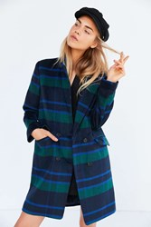 J.O.A. Plaid Long Coat Blue Multi