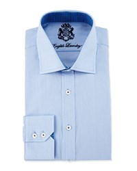 English Laundry Mini Check Long Sleeve Dress Shirt Blue