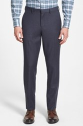 Wallin And Bros Wool Flannel Flat Front Trousers Blue
