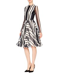 Dolce And Gabbana Nautical Striped Long Sleeve Silk Party Dress Navy White Navy White Stripe