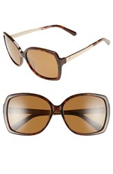 Women's Kate Spade New York 'Darilynn' 58Mm Polarized Sunglasses Havana Brown Polar