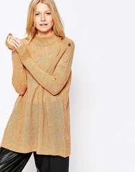 B.Young Long Lined Jumper With Button Detail Brown