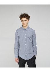 Peter Jensen Seamed Collar Gingham Shirt Navy Gingham