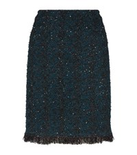 St. John Balanda Knit Fringe Skirt Female Green