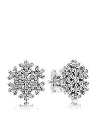 Pandora Design Pandora Stud Earrings Sterling Silver And Cubic Zirconia Snowflake