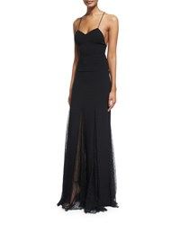 Michael Kors Sleeveless Open Back Lace Overlay Gown Black