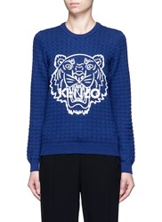 Kenzo Silicone Tiger Print Textured Wool Sweater Blue