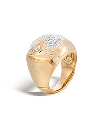 John Hardy Bamboo 18K Gold Diamond Pave Dome Ring White Gold