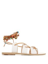 Ancient Greek Sandals Amaryllis Stones Leather Sandals White Multi