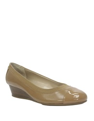 Ellen Tracy Cancan Leather And Patent Leather Wedges Tan