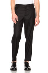 Yohji Yamamoto Stretch Twill Slim Slacks In Black