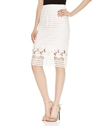 Aqua Floral Lattice Lace Pencil Skirt 100 Bloomingdale's Exclusive White White
