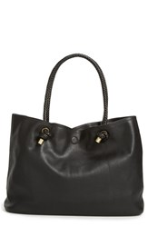 Sole Society Braided Handle Faux Leather Tote Black