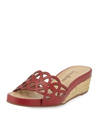 Neiman Marcus Kadee Napa Demi Wedge Bright Red