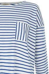 People Tree Elba Stripe Top In Blue