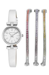 Women's Anne Klein Leather Strap Watch And Bracelet Set 24Mm