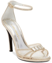 Caparros Tyler Two Piece Evening Sandals Women's Shoes Nude Glitter