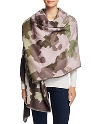 Fraas Whip Stitch Camouflage Wrap Scarf Beige Pink Green Plum