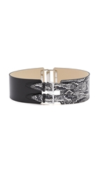 Mcq By Alexander Mcqueen Back Buckle Belt Black White