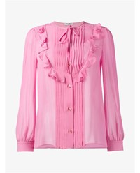 Miu Miu Ruffle Embellished Silk Blouse Pink Orange
