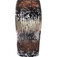 River Island Womens Silver Metallic Sequin Pencil Skirt