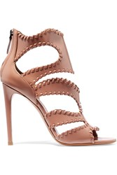 Alaia Cutout Glossed Leather Sandals